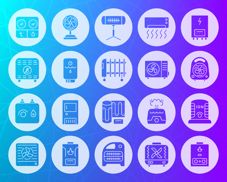 Hvac icons set. Sign kit of climatic equipment. Fan pictogram collection includes infrared heater, conditioner, ionizer. Simple hvac vector symbol. Icon shape carved from circle on colorful background