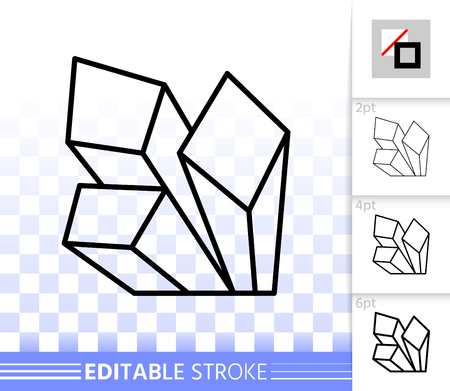 Ruby crystal thin line icon. Outline web sign of gemstone. Mineral linear pictogram with different stroke width. Simple vector symbol, transparent background. Crystal editable stroke icon without fill