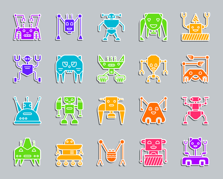 Robot silhouette sticker icons set. Web sign kit of character. Transformer pictogram collection includes ant, toy, robotic. Simple robot vector icon shape for badge, pin, patch and embroidery