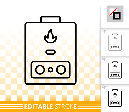 Gas boiler thin line icon. Outline sign of heating. Water Heater linear pictogram with different stroke width. Simple vector symbol transparent background. Gas boiler editable stroke icon without fill Ilustrace