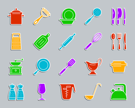 Kitchenware silhouette sticker icons set. Sign kit of cookware. Dishware pictogram collection includes frying pan, lid, utensil. Simple kitchen ware vector icon shape for badge, pin, patch, embroidery