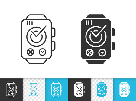Smart watch black linear and silhouette icons. Thin line sign of technology. Sport outline pictogram isolated on white, color, transparent background. Vector Icon shape. Watch simple symbol closeup