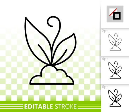 Sprout thin line icon. Outline web sign of flower. Organic plant linear pictogram with different stroke width. Simple vector symbol, transparent background. Sprout editable stroke icon without fill Ilustração