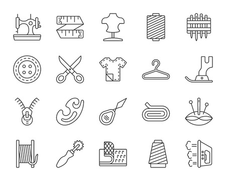 Sewing thin line icons set. Outline web sign kit of fashion. Embroidery linear icon collection includes measuring tape, dummy, thread. Simple sewing black symbol isolated on white. Vector Illustration