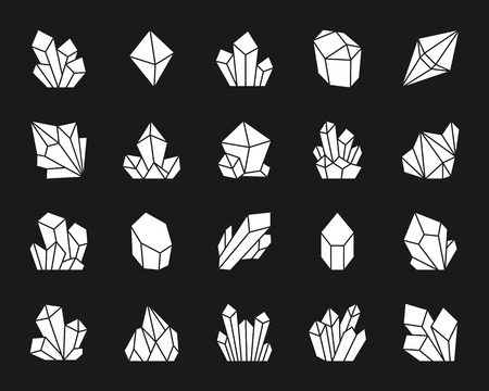 Crystal silhouette icons set. Isolated web sign kit of gemstone. Mineral monochrome pictogram collection includes salt, rock, ice. Simple white contour symbol. Crystal vector Icon shape Illustration