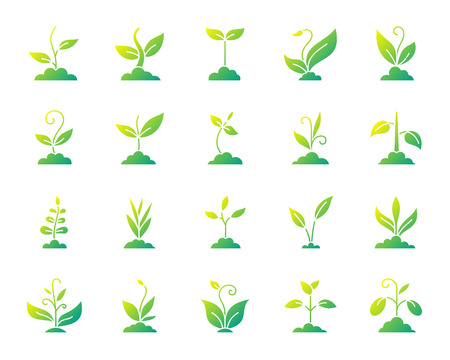 Grass silhouette icons set. Isolated on white web sign kit of organic plant. Sprout pictogram collection includes bio, eco, save nature. Modern gradient simple contour symbol. Grass vector icon shape