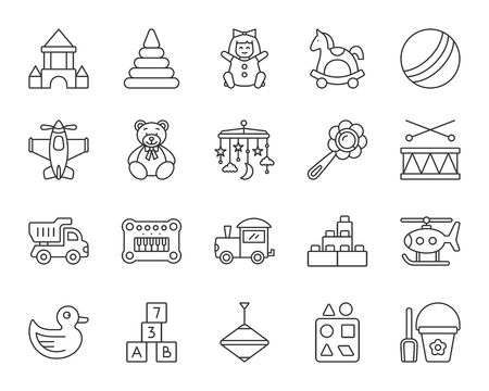 Baby Toy thin line icons set. Outline sign kit of children play. Kids Game linear icon collection includes crib hanging mobile, duck, drum. Simple baby toy symbol isolated on white Vector Illustration Illusztráció