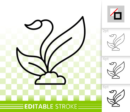 Sprout thin line icon. Outline web sign of grass. Plant seed linear pictogram with different stroke width. Simple vector symbol, transparent background. Sprout editable stroke icon without fill