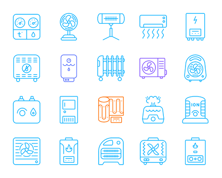 Hvac thin line icons set. Outline sign kit of climatic equipment. Fan linear icon collection includes blower heating, ionizer, humidifier. Simple hvac color contour symbol isolated Vector Illustration