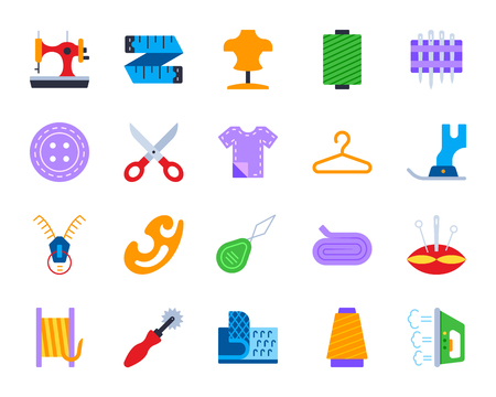 Sewing flat icons set. Web sign kit of fashion. Embroidery pictogram collection includes measuring tape, dummy, thread. Simple sewing cartoon colorful icon symbol isolated on white Vector Illustration