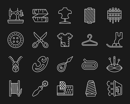 Sewing thin line icons set. Outline monochrome sign kit of fashion. Embroidery linear icon collection includes velcro fastener, spool, thimble. Simple sewing white contour symbol.
