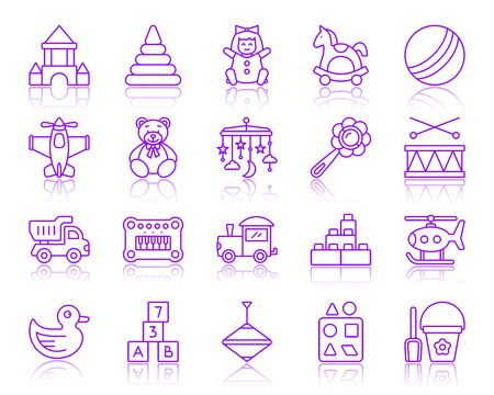 Baby toy thin line icons set. Outline vector web sign kit of children play. Kids game linear icon collection includes beanbag, rattle, tipper. Simple baby toy symbol with reflection isolated on white