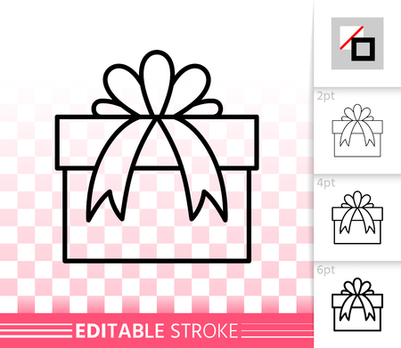 Gift box with bow thin line icon. Outline sign of bounty box. Present linear pictogram with different stroke width. Simple  symbol, transparent background. Gift editable stroke icon without fill