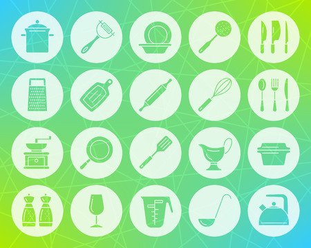 Kitchenware icons set. Web sign kit of cookware. Dishware pictogram collection includes pot, baking pan, peeler. Simple kitchenware vector symbol. Icon shape carved from circle on colorful background