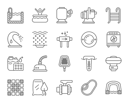 Swimming pool equipment thin line icons set. Outline sign kit of construction. Repair linear icon collection includes stairs, waterfall geyser. Simple pool symbol isolated on white Vector Illustration