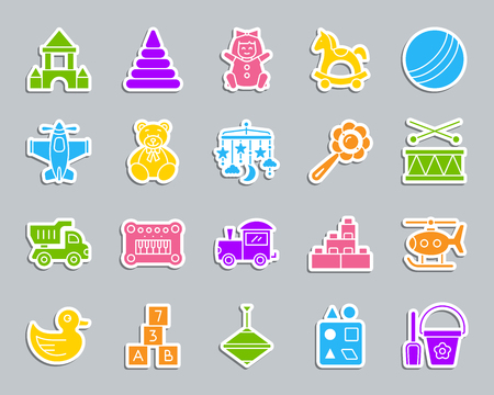 Baby Toy silhouette sticker icons set. Web sign kit of children play. Kids Game pictogram collection includes truck, piano, helicopter. Simple baby toy vector icon shape for badge patch and embroidery