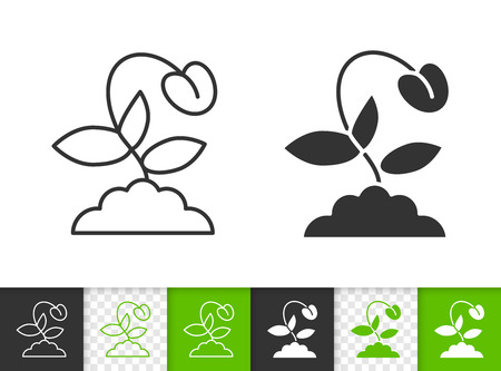 Sprout black linear and silhouette icons. Thin line sign of seeds. Organic Plant outline pictogram isolated on white, color, transparent background. Vector Icon shape. Sprout simple symbol closeup