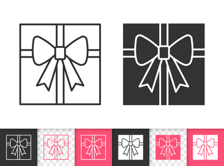 Gift black linear and silhouette icons. Thin line sign of bounty box with bow. Present outline pictogram isolated on white, color, transparent background. Vector Icon shape. Gift simple symbol closeup