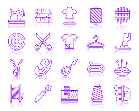 Sewing thin line icons set. Outline vector web sign kit of fashion. Embroidery linear icon collection includes sewing machine, foot, scissors. Simple sewing symbol with reflection isolated on white Vettoriali