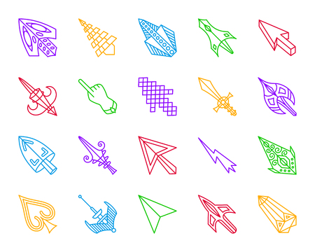 Mouse Cursor thin line icons set. Outline sign kit of arrow. Click linear icon collection includes pointer, laser, lightning. Simple mouse cursor contour symbol isolated on white. Vector Illustration