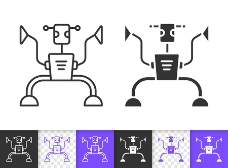 Humanoid black linear and silhouette icons. Thin line sign of ai. Robot outline pictogram isolated on white, color, transparent background. Vector Icon shape. Mechanical Humanoid simple symbol closeup Illustration