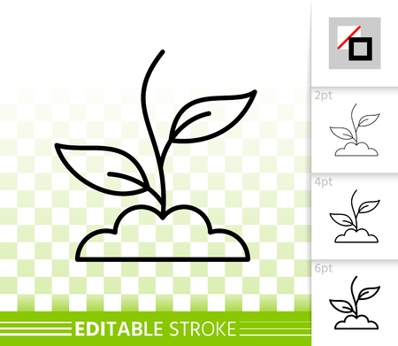Green Grass thin line icon. Outline web sign of plant. Sprout linear pictogram with different stroke width. Simple vector symbol, transparent background. Green Grass editable stroke icon without fill