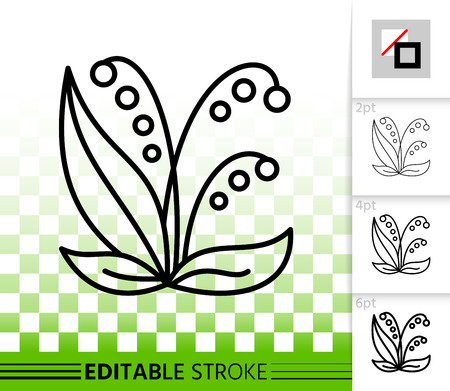 Lily Valley thin line icon. Outline web sign of flower. Plant linear pictogram with different stroke width. Simple vector symbol, transparent background. Lily Valley editable stroke icon without fill Illustration