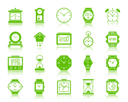 Watch silhouette icons set. Web sign kit of alarm clock. Clock pictogram collection includes sand glass, timer, cuckoo clock. Simple watch symbol with reflection. Vector Icon shape isolated on white