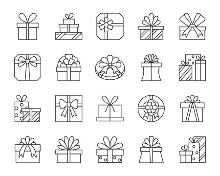 Gift thin line icons set. Outline web sign kit of cute bounty box. Present linear icon collection includes bow, parcel, pack. Simple gift black contour symbol isolated on white. Vector Illustration