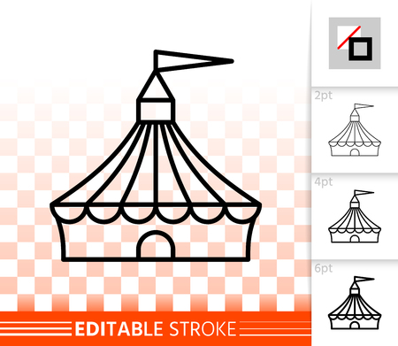 Circus tent thin line icon. Outline sign of marquee. Cirque canopy linear pictogram with different stroke width. Simple vector symbol, transparent background. Circus editable stroke icon without fill