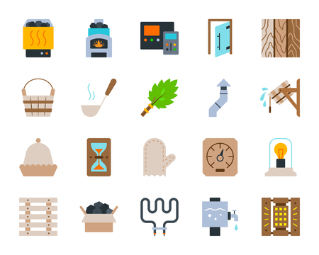 Sauna equipment flat icons set. Sign kit of bathhouse. Spa pictogram collection includes chimney, hygrometer, heating element. Simple sauna cartoon icon symbol isolated on white. Vector Illustration Stock Illustratie