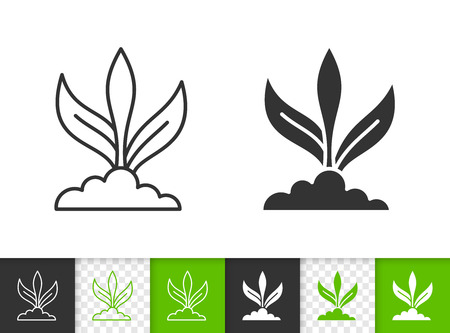 Sprout black linear and silhouette icons. Thin line sign of flower. Organic plant outline pictogram isolated on white, color, transparent background. Vector Icon shape. Sprout simple symbol closeup