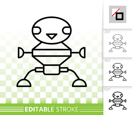Robot transformer thin line icon. Outline sign of machine. Humanoid linear pictogram with different stroke width. Simple vector symbol, transparent background. Robot editable stroke icon without fill Иллюстрация