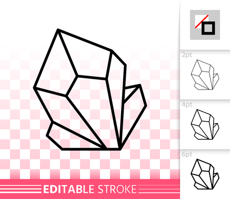 Ruby crystal thin line icon. Outline web sign of gemstone. Mineral linear pictogram with different stroke width. Simple vector symbol, transparent background. Crystal editable stroke icon without fill  イラスト・ベクター素材