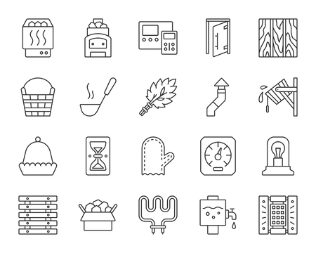 Sauna equipment thin line icons set. Outline sign kit of bathhouse. Spa linear icon collection includes chimney, hygrometer, heating element. Simple sauna symbol isolated on white. Vector Illustration