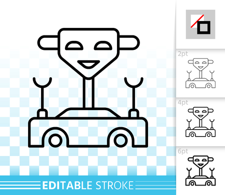Machine thin line icon. Outline web sign of toy. Robot transformer linear pictogram with different stroke width. Simple vector symbol, transparent background. Machine editable stroke icon without fill