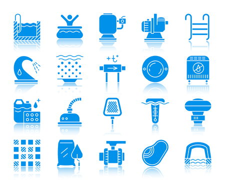 Swimming pool equipment silhouette icons set. Web sign kit of construction. Repair pictogram collection includes pump, filter, waterfall. Simple pool symbol with reflection. Vector Icon shape isolated