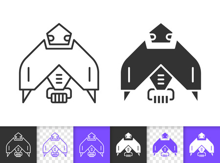 Robot black linear and silhouette icons. Thin line sign of machine. Transformer outline pictogram isolated on white, color, transparent background. Vector Icon shape. Robot simple symbol closeup
