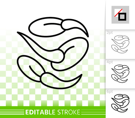 Seeds thin line icon. Outline web sign of green sprout. Organic Plant linear pictogram with different stroke width. Simple vector symbol transparent background. Seeds editable stroke icon without fill