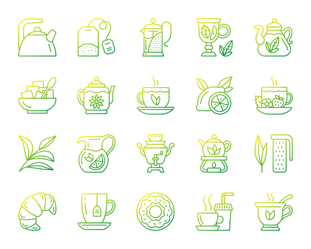 Tea thin line icons set. Outline vector web sign kit of cup. Tea time linear icon collection includes teapot, lemon, mint. Modern green gradient simple tea symbol isolated on white