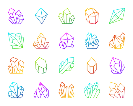 Crystal thin line icons set. Outline vector web sign kit of gemstone. Mineral linear icon collection includes salt, emerald, rock, ice. Modern color gradient simple crystal symbol isolated on white