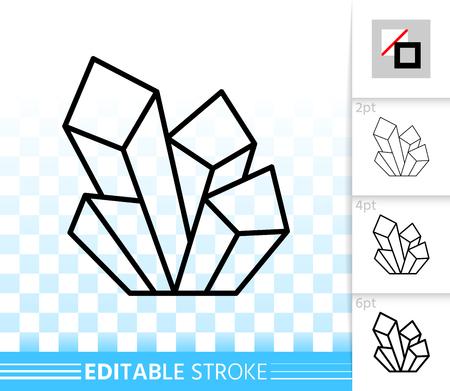 아쿠아 마린 크리스탈 얇은 라인 아이콘. 보석의 웹 로그인 개요. 스트로크 너비가 다른 미네랄 선형 그림. 간단한 벡터 기호 투명 배경입니다. 채우기가없는 수정 가능한 획 아이콘 벡터 (일러스트)