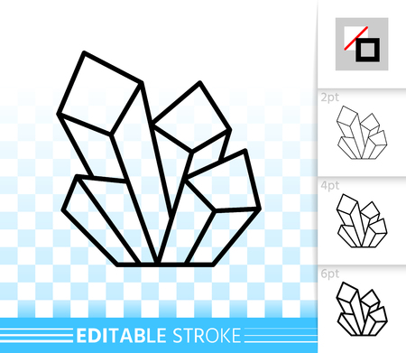 Aquamarine crystal thin line icon. Outline web sign of gem. Mineral linear pictogram with different stroke width. Simple vector symbol transparent background. Crystal editable stroke icon without fill