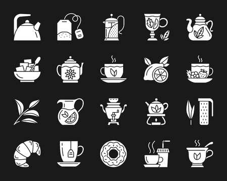 Tea attributes silhouette icons set. Isolated web sign kit of cup. Tea Time monochrome pictogram collection includes teapot, lemon, mint. Simple white contour symbol on black. Tea vector Icon shape