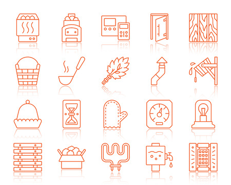 Sauna equipment thin line icons set. Outline vector sign kit of bathhouse. Spa linear icon collection includes ladle, chimney, bucket waterfall. Simple sauna symbol with reflection isolated on white Banque d'images - 105262171