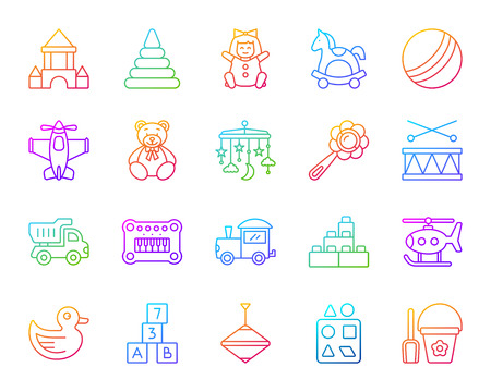 Baby Toy thin line icons set. Outline vector web sign kit of children play. Kids Game linear icon collection includes doll, cubes castle. Modern color gradient simple baby toy symbol isolated on white Illustration