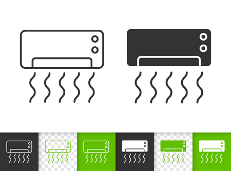Air conditioner black linear and silhouette icons. Thin line sign of split system. Cooling outline pictogram isolated on white, color, transparent. Vector Icon air conditioner simple symbol closeup Banque d'images - 105233346