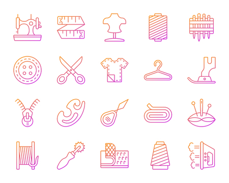 Sewing thin line icons set. Outline vector sign kit of fashion. Embroidery linear icon collection includes knitting, sewing machine, zip. Modern color gradient simple sewing symbol isolated on white