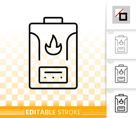 Gas boiler thin line icon. Outline sign of water heater. Climatic equipment linear pictogram with different stroke width. Simple vector symbol on transparent. Boiler editable stroke icon without fill Illustration