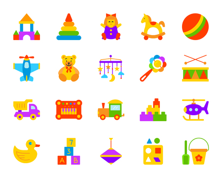 Baby toy flat icons set. Sign kit of children play. Kids game pictogram collection includes crib hanging mobile, duck, drum. Simple baby toy cartoon colorful icon symbol on white. Vector Illustration Illustration